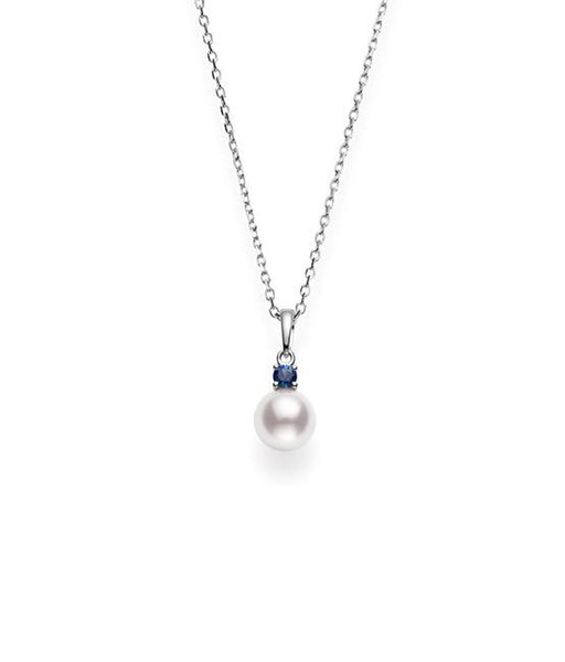 Akoya Cultured Pearl and Sapphire Pendant 7.5mm A+