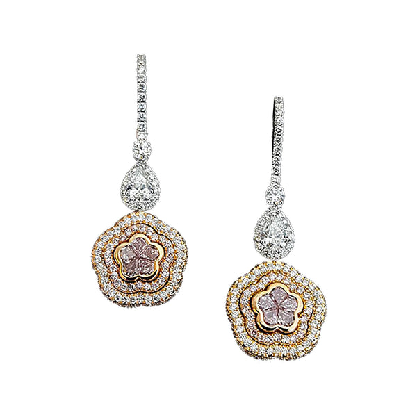 Pink Diamond Flower Earrings