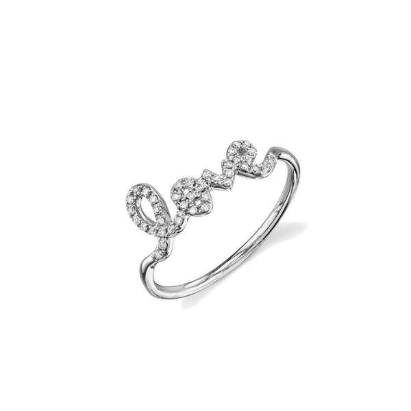 White Gold & Pavé Diamond Love Ring