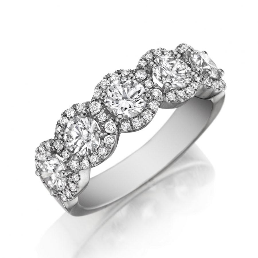 Five Diamond Halo Wedding Band 18K White Gold