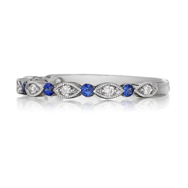 Milgrain Diamond and Blue Sapphire Wedding Band 18K White Gold