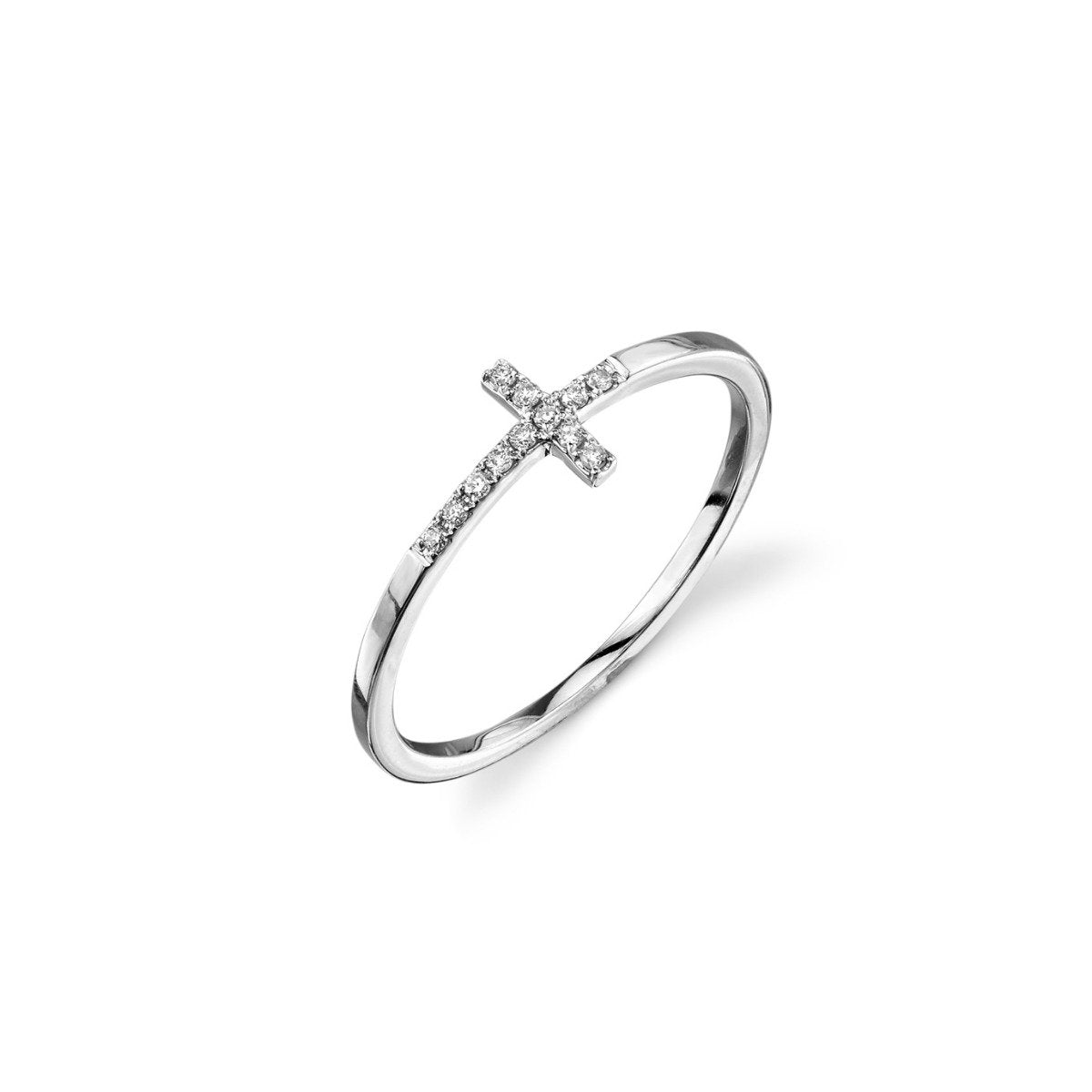 White-Gold & Pavé Diamond Bent Cross Ring