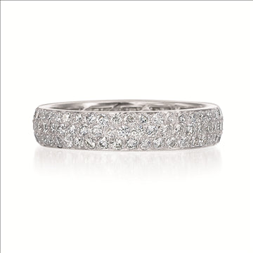 Rounded Pave Diamond Platinum Band