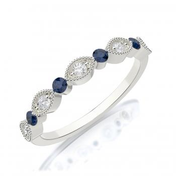 Diamond and Sapphire Wedding Band 14K White Gold