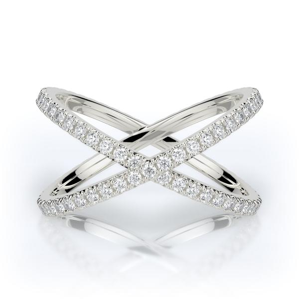 Crisscross Diamond Wedding Band 14K White Gold