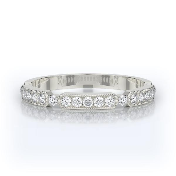 Milgrain Diamond Wedding Band 14K White Gold