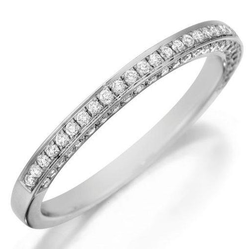 3 Sided Diamond Wedding Band 18K White Gold