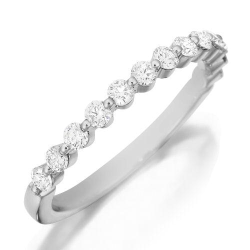 13 Stone Diamond Wedding Band 18K White Gold