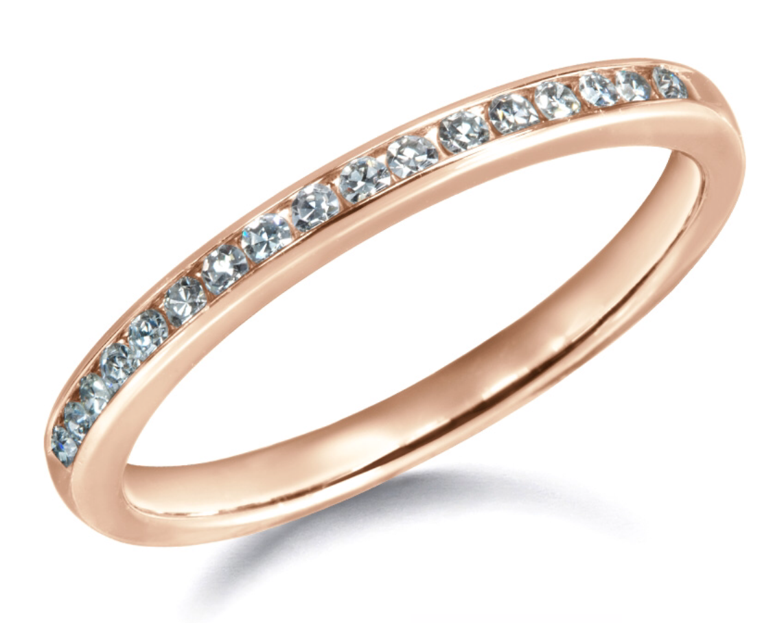 Channel Set Diamond Band on Rose Gold