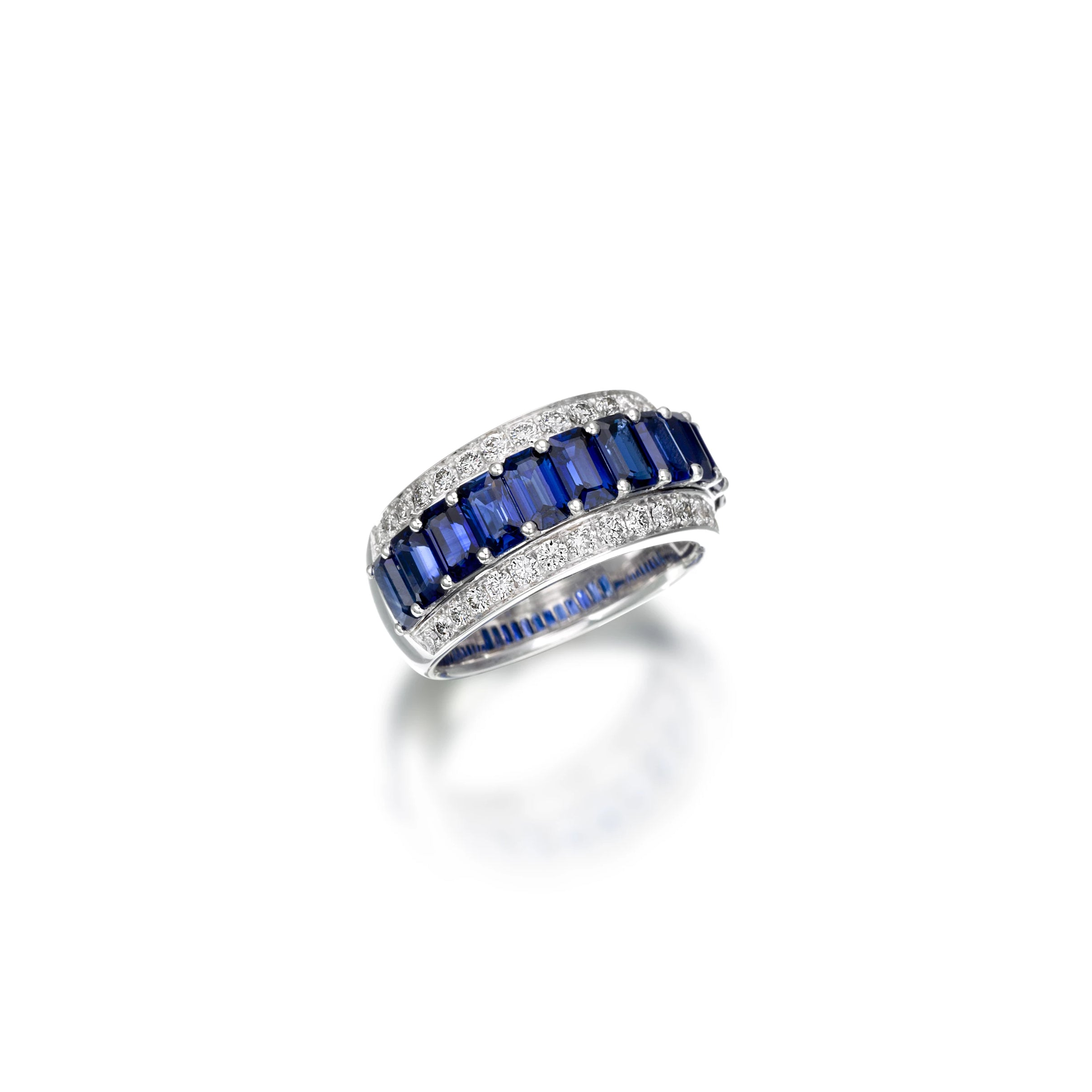 White Gold Xpandable™ Sapphire and Diamond Ring