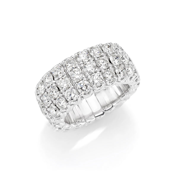 White Gold Xpandable™ Triple Row Diamond Ring