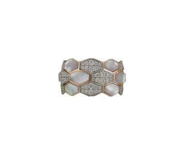 Rose and White Gold Xpandable™ Diamond and Mother of Pearl Ring