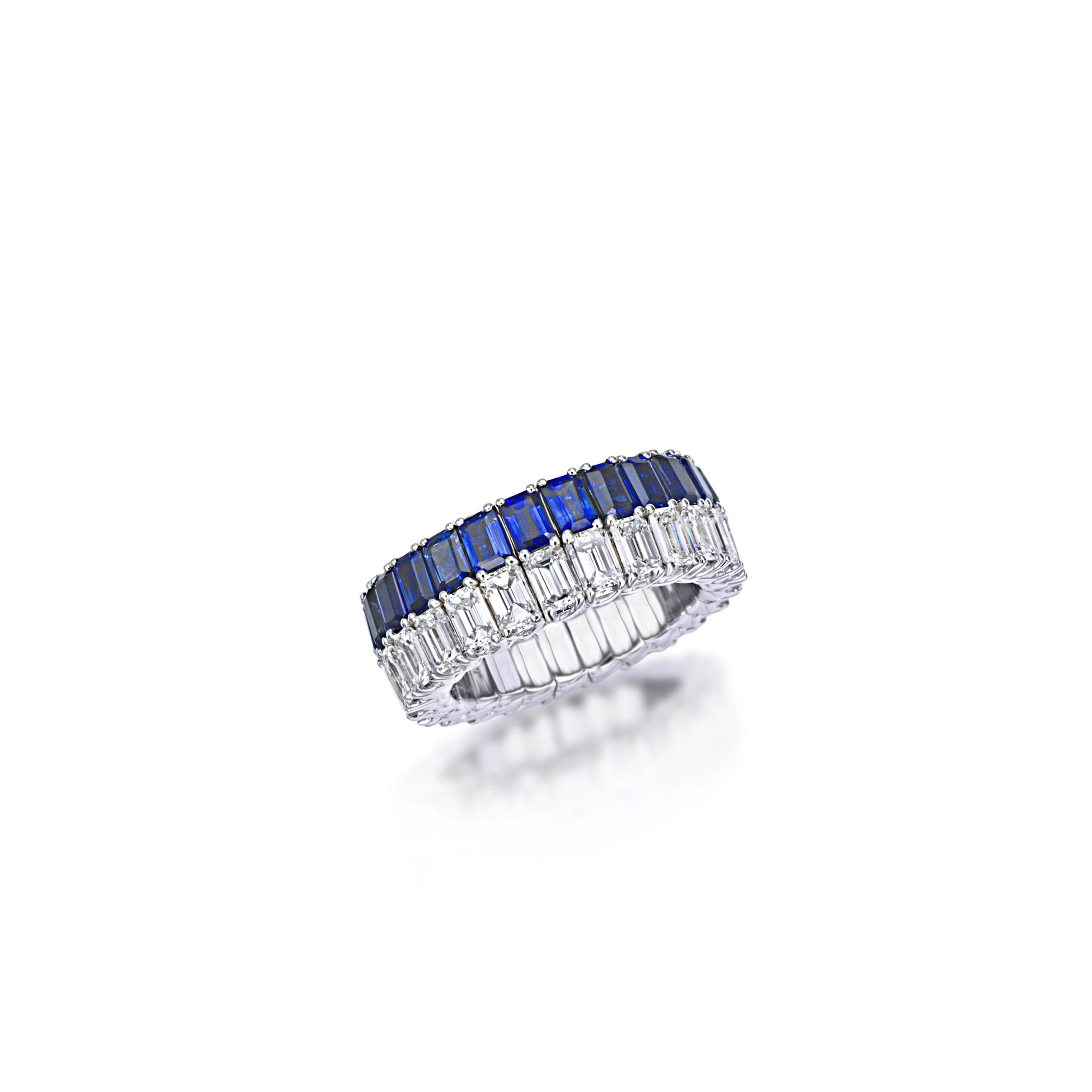 White Gold Xpandable™ Diamond and Sapphire Ring