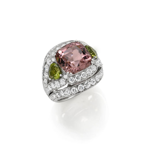 White Gold Diamond and Tourmaline Ring