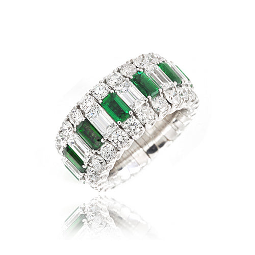 White Gold Xpandable™ Emerald and Diamond Ring
