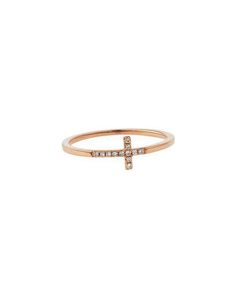 Bent Cross Pavé Diamond Ring in Rose Gold