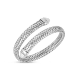 Flexible White Gold Snake Cuff with Diamonds