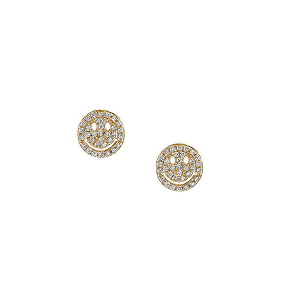 Small Yellow Gold Diamond Pavé Happy Face Stud Earrings