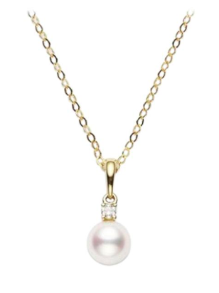 Akoya Cultured Pearl and Diamond Pendant 6-6.5mm A+