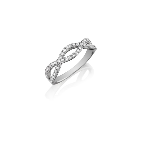 Twisted Diamond Wedding Band 18K White Gold