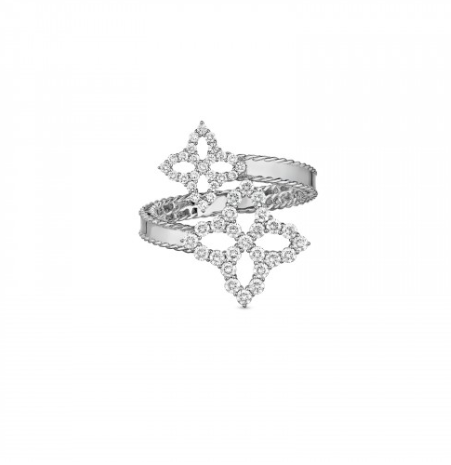 Princess Flower Bypass Diamond Ring