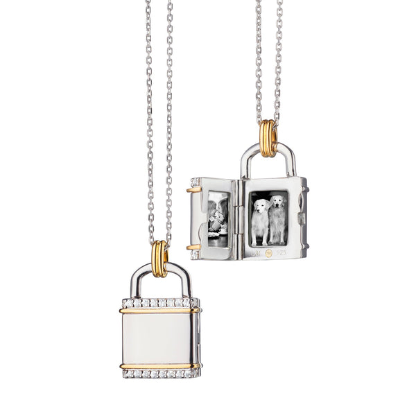 "Two-Tone Square ""Lock"" Inspired Locket"