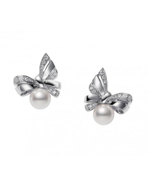 Jeux de Rubans Ribbon Diamod & Pearl Stud Earrings