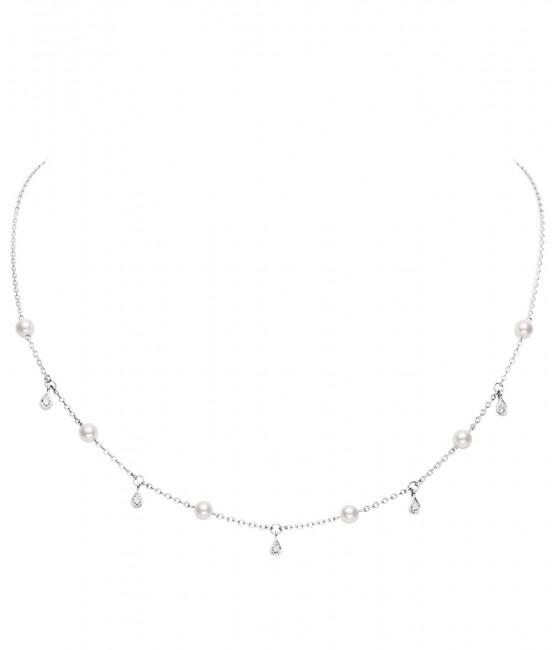 Akoya Cultured Pearl and Diamond Necklace 4.5mm