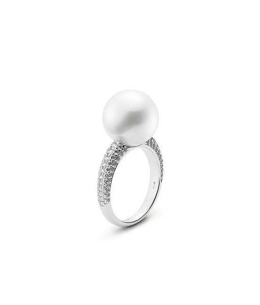 White South Sea Cultured Pearl and Pavé Diamond Ring