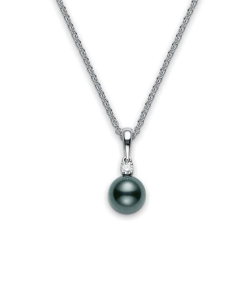 Black South Sea Cultured Pearl 9mm and Diamond Pendant