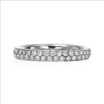 2 Row Pave Diamond Platinum Band