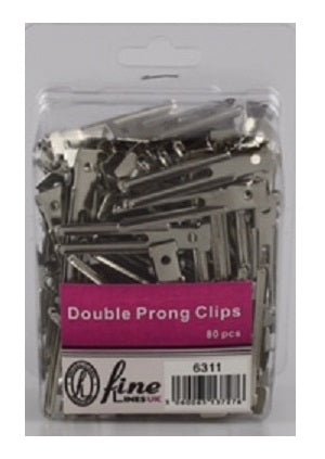 Double prong metal clip