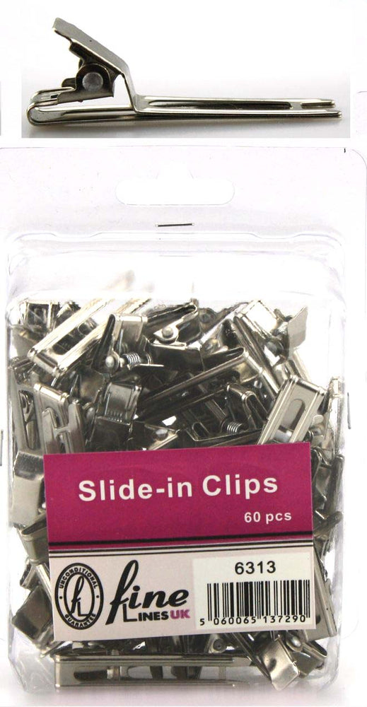 Slide-in metal clip