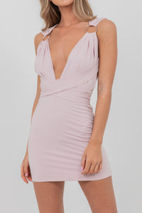 Wrap Around Strap Ring Dress Rose Pink