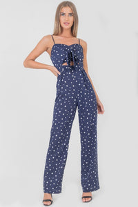 Polka dot tie front jumpsuit