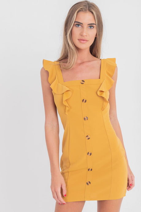 button up mustard dress