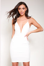 Load image into Gallery viewer, Plunge white bodycon dress