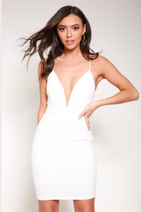 Plunge white bodycon dress