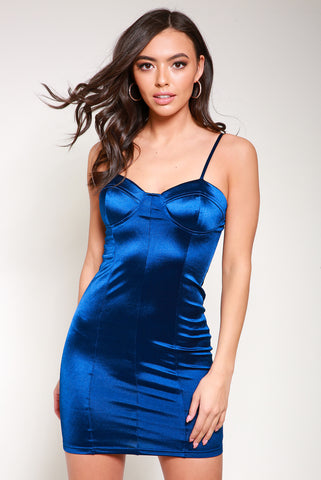 Blue satin bodycon mini dress