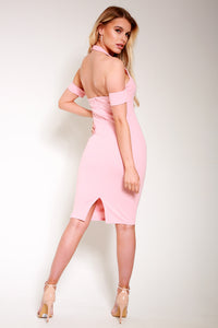 Halterneck bodycon pink dress