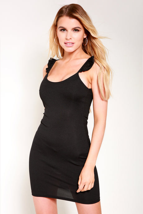 Black bodycon frill dress