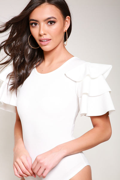 White Layered Frill Short Sleeve Bodysuit