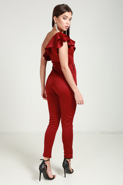 Ruffle wine jumpsuit
