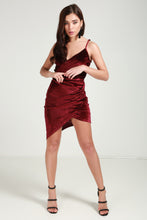 Load image into Gallery viewer, Velvet Wrap Front Ruched Bodycon Dress