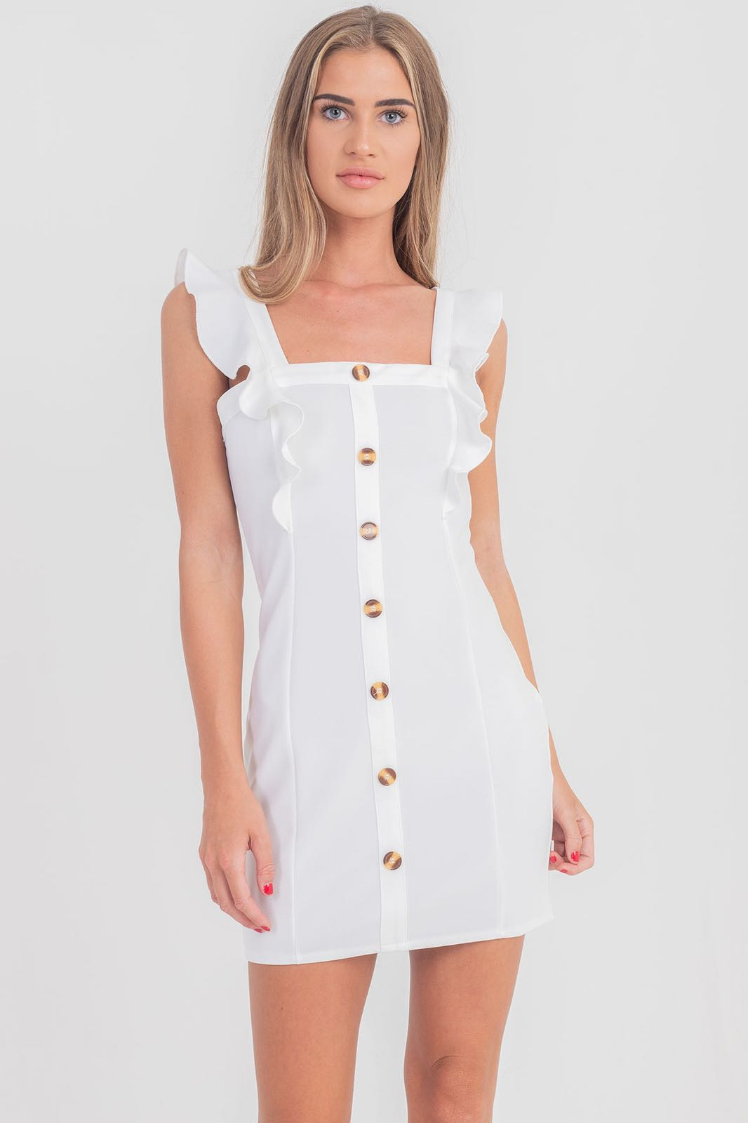 Frill White Dress