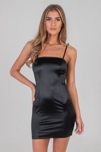 Gathered Back Seam Dress Black