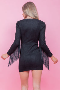 Suede Fringe Sleeve Dress Black