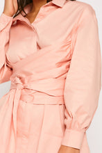 Load image into Gallery viewer, CORAL PINK COTTON OVERSIZED TIE WAIST SHIRT DRESS