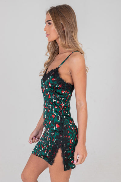 Leopard Slip Dress With Lace Trim Green
