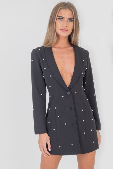 Pearl Blazer Dress Black